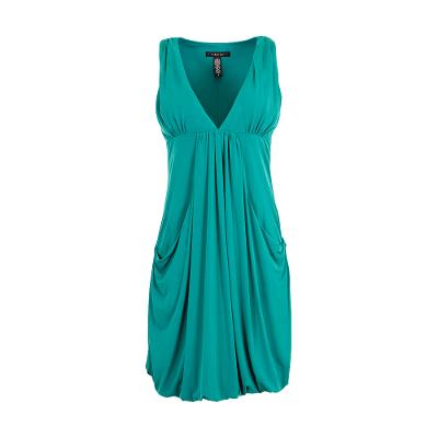 draped sleeveless v-neck dress bluegreen